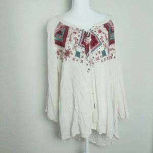 Living Doll Embroidered Peasant Blouse Plus Size
